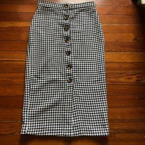 SHEIN Houndstooth button through pencil Skirt
